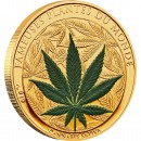 "Cu-Ni Golden-Plated Coin CANNABIS SATIVA 2010 ""Famous Plants"" Series"