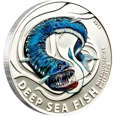 Серебряная монета ЧЕРНЫЙ ДРАКОН 2011 серии «Глубоководные Рыбы»