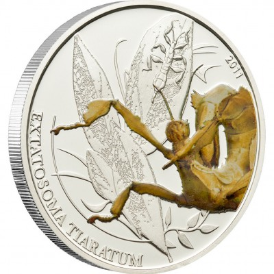 "Silver Coin WALKING LEAF 2011 ""World of Insects"" Series"