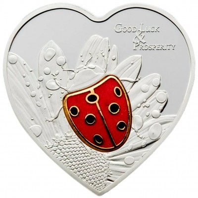 """Silver Coin LADY BUG in cloisonne 2009 """"Single Issues"""" Series"""