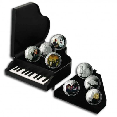 "LIFE OF CHOPIN 2009 ""Composers"" Series Eight Silver Coin Set"
