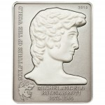 """Silver Coin MICHELANGELO'S DAVID 2010 """"Sculptures of the World"""" Series"""