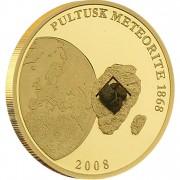 Золотая монета  МЕТЕОРИТ ПУЛТУСК 2008