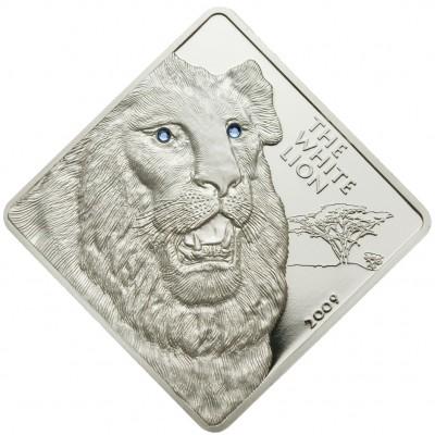 Серебряная монета БЕЛЫЙ ЛЕВ 2009 серии «Редкие Животные» - 2 унции