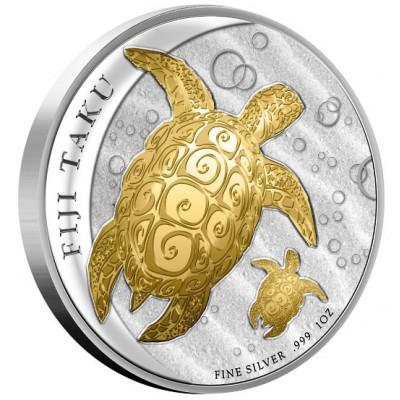 FIJI TAKU GILDED SILVER COIN 2012 - 1OZ