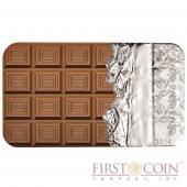 Cook Islands Chocolate $5 Colored Scented Silver Rectangular coin 2014