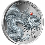 Silver High Relief Coin RED FIRE DRAGON 2012, Fiji - 2oz