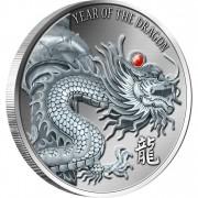 Silver High Relief Coin RED FIRE DRAGON 2012, Fiji - 2oz