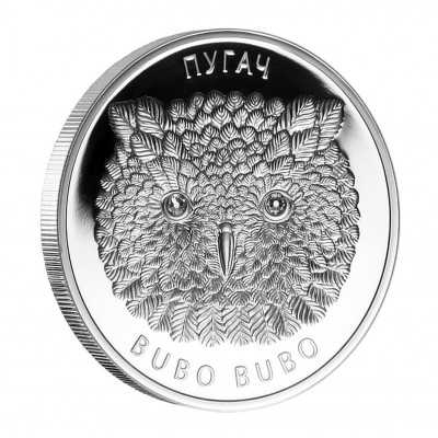 Silver Coin with Swarovski Crystals THE EAGLE OWL 2010, Belarus - 1 oz