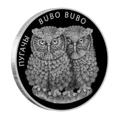 Silver Coin with Swarovski Crystals  EAGLE OWLS 2010, Belarus - 1 oz