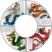 Silver FAN-SHAPED DRAGON 2012 Four Coin Set Proof