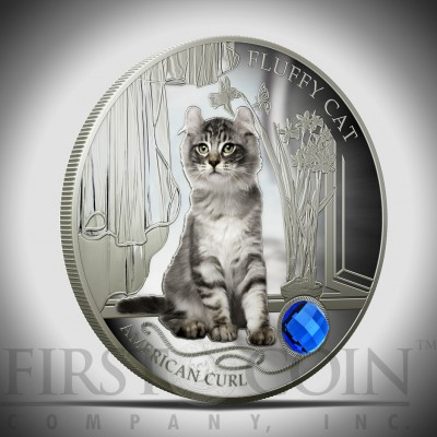 "Silver Coin FLUFFY CAT - AMERICAN CURL 2013 ""Dogs and Cats"" Series Fiji - 1 oz"