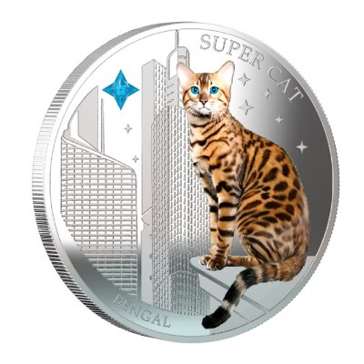 """Silver Coin SUPER CAT - BENGAL 2013 """"Dogs and Cats"""" Series Fiji - 1 oz"""