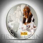 """Silver Coin MY BEST FRIEND - BASSET HOUND 2013 """"Dogs and Cats"""" Series Fiji - 1 oz"""