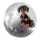 "Silver Coin MY BEST FRIEND - DACHSHUND 2013 ""Dogs and Cats"" Series Fiji - 1 oz"