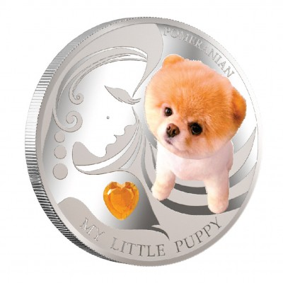 "Silver Coin MY LITTLE PUPPY - POMERANIAN 2013 ""Dogs and Cats"" Series Fiji - 1 oz"