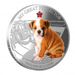 """Silver Coin MY GREAT PROTECTOR - ENGLISH BULLDOG 2013 """"Dogs and Cats"""" Series Fiji - 1 oz"""