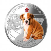 "Silver Coin MY GREAT PROTECTOR - ENGLISH BULLDOG 2013 ""Dogs and Cats"" Series Fiji - 1 oz"