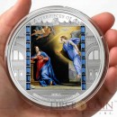 Cook Islands ANNUNCIATION PHILIPPE DE CHAMPAIGNE $20 CHRISTMAS Edition of Masterpieces of Art Series Colored Silver Coin Swarovski Crystals 2014 Proof 3 oz