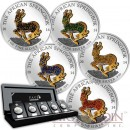 Gabon Springbok Pave 3D Magic series Olympic Five Continents Silver Five Coin Set 5000 Francs Gemstones Gilded 2014 Proof 5 oz