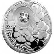 """Silver Coin FOUR-LEAF CLOVER 2010 """"Lucky coins"""" Series (Blister in Russian + Certificate in English)"""