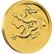 "Gold Bullion Coin YEAR OF THE DRAGON 2012 ""Lunar"" Series - 1/10 oz"