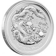 "Silver Bullion Coin YEAR OF THE DRAGON 2012 ""Lunar"" Series - 1/2 oz"