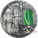 Niue Island SECRETS of PENA Palace $2 silver coin Crystal Art Series Green Crystal 2014 High Relief Antique finish 2 oz