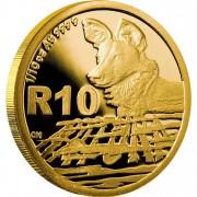 Золотая Монета АФРИКАНСКИЕ РАСКРАШЕННЫЕ ВОЛКИ ( ГИЕНОВЫЕ СОБАКИ ) 2012 - 1/10 унции