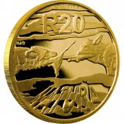 Золотая Монета АФРИКАНСКИЕ РАСКРАШЕННЫЕ ВОЛКИ ( ГИЕНОВЫЕ СОБАКИ ) 2012 - 1/4 унции