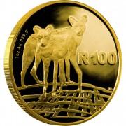 Золотая Монета АФРИКАНСКИЕ РАСКРАШЕННЫЕ ВОЛКИ ( ГИЕНОВЫЕ СОБАКИ ) 2012 - 1 унция