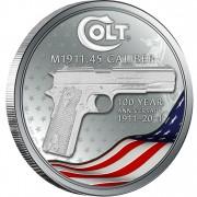 Серебряная монета КОЛЬТ 1911 100 - ЛЕТНИЙ ЮБИЛЕЙ ПИСТОЛЕТА 2011