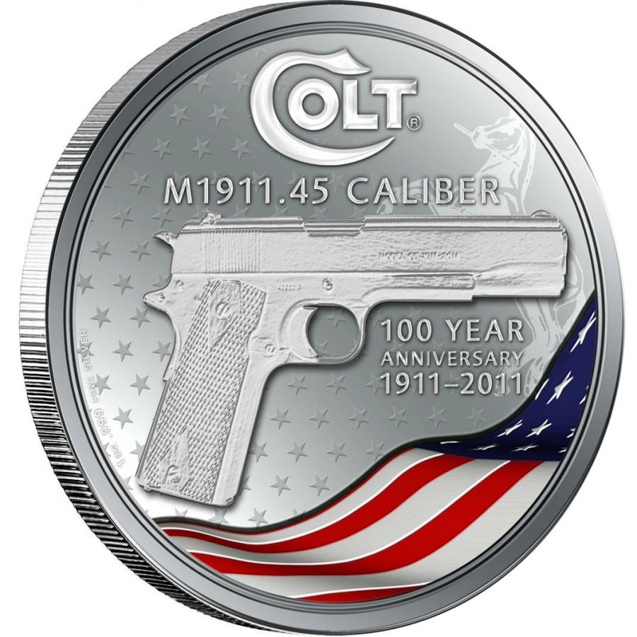 Silver Coin Colt 1911 Hand Gun 100 Year Anniversary Coin