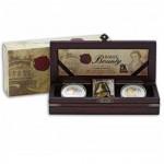 """HMAV BOUNTY """"Gold Gilded Coin"""" Series 2010 Two Silver Coin Set"""