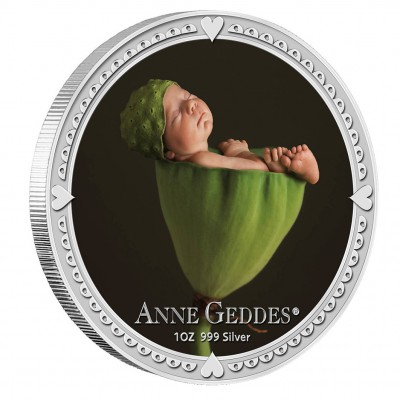 Silver Colored Coin ANNE GEDDES SET - BOY 2012, Niue - 1 oz