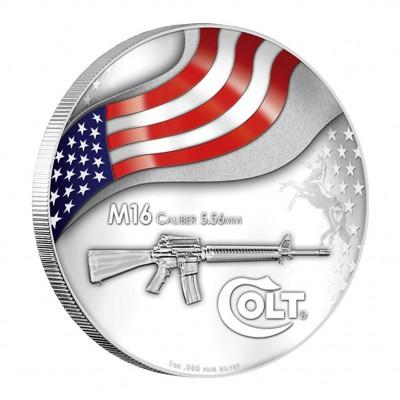 Серебряная цветная монета М16 КОЛЬТ 2010,США - 1 унция