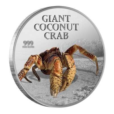 Silver Colored Coin GIANT COCONUT CRAB 2013, Pitcairn - 1 oz
