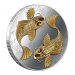 Silver Colored Coin FENG SHUI - KOI 2012, Niue - 1 oz