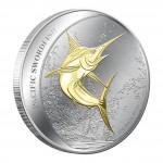 Silver Gilded Coin PACIFIC SWORDFISH 2011, Fiji - 1 oz