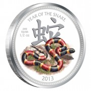 Silver Colored Coin LUNAR YEAR OF THE SNAKE 2013, Niue - 1/2 oz