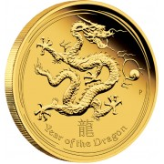 "Gold Coin YEAR OF THE DRAGON 2012 ""Lunar"" Series - 1/4 oz Proof"