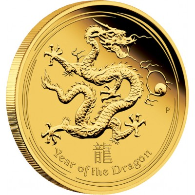 "Gold Coin YEAR OF THE DRAGON 2012 ""Lunar"" Series - 1 oz Proof"