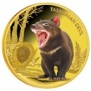 Gold Colored Coin TASMANIAN DEVIL 2013, Niue - 1 oz, Proof