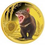 Gold Colored Coin TASMANIAN DEVIL 2013, Niue - 1 oz, Proof