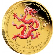 "Gold Coloured Coin YEAR OF THE DRAGON 2012 ""Lunar"" Series - 1 oz Proof"