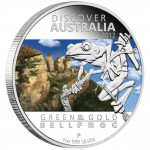 """Silver Coin GREEN AND GOLD BELL FROG """"Discover Australia 2012"""" Series"""