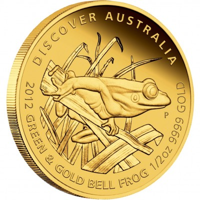 """Gold Coin GREEN AND GOLD BELL FROG 2012 """"Discover Australia 2012"""" Series - 1/2 oz, Proof"""