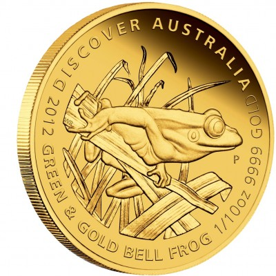 """Gold Coin GREEN AND GOLD BELL FROG 2012 """"Discover Australia 2012"""" Series - 1/10 oz, Proof"""