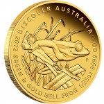 "Gold Coin GREEN AND GOLD BELL FROG 2012 ""Discover Australia 2012"" Series - 1/25 oz, Proof"