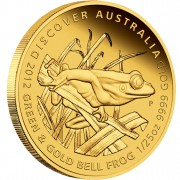 """Gold Coin GREEN AND GOLD BELL FROG 2012 """"Discover Australia 2012"""" Series - 1/25 oz, Proof"""